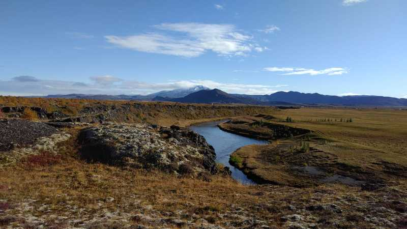 The view of Hekla and the river Rangá