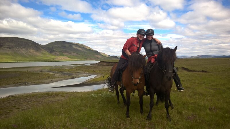 Happy friends during a riding tour in Iceland.